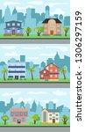 set of three illustrations of... | Shutterstock . vector #1306297159