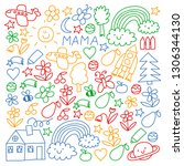 children drawing. colorful...   Shutterstock .eps vector #1306344130