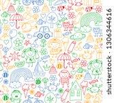 kindergarten pattern with cute...   Shutterstock .eps vector #1306344616