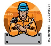 counstruction worker with blank ... | Shutterstock .eps vector #1306345189