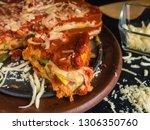 Stock photo homemade italian lasagna with zucchini 1306350760