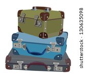 set of three stacked suitcases... | Shutterstock .eps vector #130635098