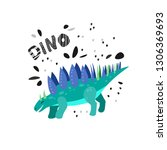 cute dinosaur hand drawn with... | Shutterstock .eps vector #1306369693