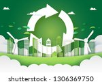 paper art of green city and... | Shutterstock .eps vector #1306369750