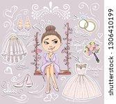 collection of bride preparing... | Shutterstock .eps vector #1306410199