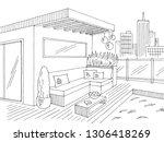 roof garden graphic black white ...   Shutterstock .eps vector #1306418269