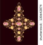 floral gold cross   Shutterstock .eps vector #130642874
