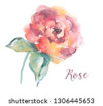 cute  painted watercolor rose... | Shutterstock . vector #1306445653