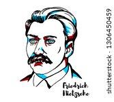 friedrich nietzsche engraved... | Shutterstock .eps vector #1306450459