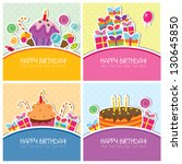 birthday cards set | Shutterstock .eps vector #130645850