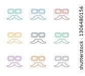 mustache and glasses icon white ... | Shutterstock .eps vector #1306480156