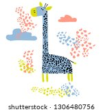 vector colored cartoon giraffe. ... | Shutterstock .eps vector #1306480756