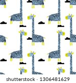 seamless vector cute pattern... | Shutterstock .eps vector #1306481629