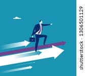 leader stands on arrows and... | Shutterstock .eps vector #1306501129