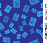 blue passport with biometric... | Shutterstock .eps vector #1306524496