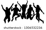 people jump vector silhouette.... | Shutterstock .eps vector #1306532236