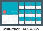 wall calendar template for 2019 ... | Shutterstock .eps vector #1306533829