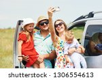 vacation  travel   happy family ... | Shutterstock . vector #1306554613