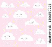 cute happy clouds on a gently... | Shutterstock .eps vector #1306557226