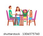 father and mother with kids... | Shutterstock .eps vector #1306575760