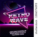 retro wave background place for ... | Shutterstock .eps vector #1306576093