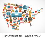 america map with many vector... | Shutterstock .eps vector #130657910
