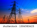 electric tower  silhouette at... | Shutterstock . vector #1306583623
