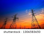 electric tower  silhouette at... | Shutterstock . vector #1306583650