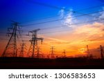 electric tower  silhouette at... | Shutterstock . vector #1306583653