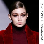 Small photo of New York, New York - February 06, 2019: Gigi Hadid walks the runway at Tom Ford Fall Winter 2019 Fashion Show at Park Avenue Armory