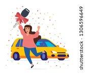 vector illustration a happy... | Shutterstock .eps vector #1306596649