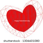 red abstract polygonal heart... | Shutterstock .eps vector #1306601080