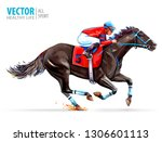 Stock vector jockey on racing horse derby sport vector illustration isolated on white background 1306601113