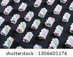 colorful marshmallow is laid... | Shutterstock . vector #1306601176