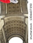 triumphal arch of paris from... | Shutterstock . vector #1306607350