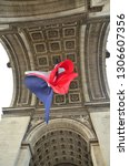 triumphal arch of paris from... | Shutterstock . vector #1306607356