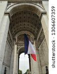 triumphal arch of paris from... | Shutterstock . vector #1306607359