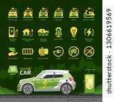 electric car glyph icon set on... | Shutterstock .eps vector #1306619569