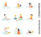 collection of boys and girls... | Shutterstock .eps vector #1306644856