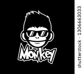 cool monkey wearing glasses... | Shutterstock .eps vector #1306663033