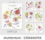 half year calendar with ink...   Shutterstock .eps vector #1306666546
