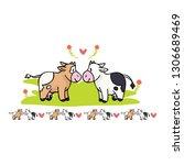 Kawaii Cow Love Cartoon Vector...