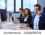 team of technical support with... | Shutterstock . vector #1306698256