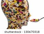a head made of glass filled... | Shutterstock . vector #130670318