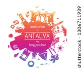translation  welcome to antalya.... | Shutterstock .eps vector #1306711939
