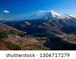 "KOZANI, MACEDONIA, GREECE. Panoramic view Vlasti village and Askio (also known as  ""Siniatsiko"") mountain, Municipality of Eordaia."
