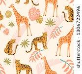 giraffe and leopard pattern...   Shutterstock .eps vector #1306722496