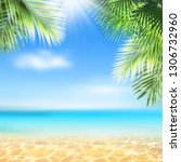 Small photo of Summer landscape, nature of tropical golden beach and leaf palm, soft focus. Golden sand beach with glare in water, turquoise sea water, blue sky, white clouds. Copy space, summer vacation concept.