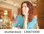 young attractive woman enjoying ... | Shutterstock . vector #130673300