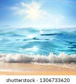 summer landscape with sea surf  ... | Shutterstock . vector #1306733620